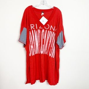 Free People | oversized graphic t-shirt red XS